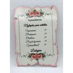 Maľovaná tabuľka pergamen...